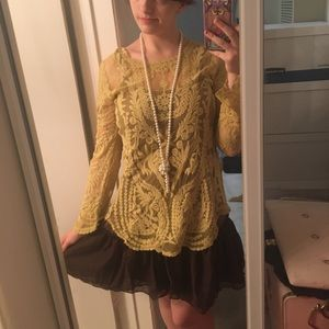 * Brand New * Yellow & Brown Lace flapper 20s